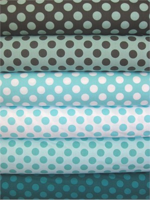 Michael Miller, Ta Dot, Morning Mist in FAT QUARTERS, Total 6 (Pre-cut)