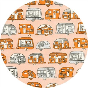Robert Kaufman, On The Road, METALLIC, Mini Trailers Orange