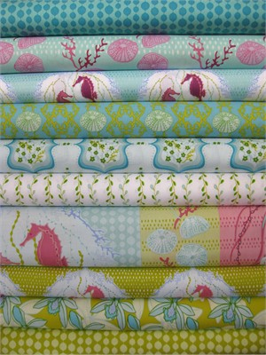 Mo Beddell, Full Moon Lagoon, Aqua in FAT QUARTERS 9 Total