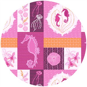 "Mo Beddell, Full Moon Lagoon, Seahorse Friends Fuchsia (23"" Panel)"