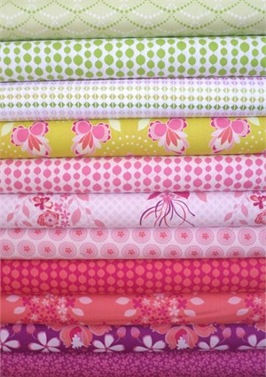 Mo Bedell, Hothouse Flowers, Green/Hot Pink in FAT QUARTERS 10 Total
