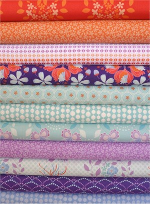 Mo Bedell, Hothouse Flowers, Orange/Violet in FAT QUARTERS 11 Total