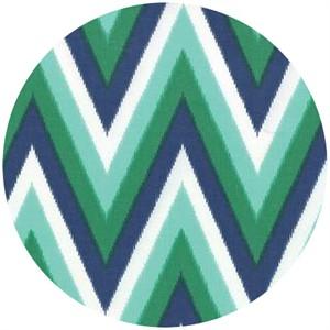 Moda, Color Me Happy, COATED, Chevron Navy/Emerald