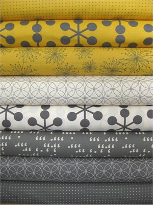 Moda, Comma Zen Chic, Mustard and Slate in FAT QUARTERS, 7 Total