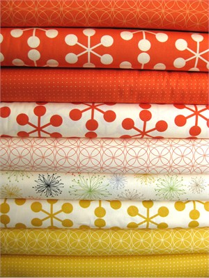Moda, Comma Zen Chic, Tangerine and Mustard in FAT QUARTERS, 9 Total