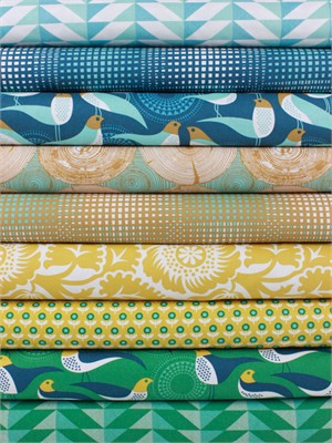 Joel Dewberry for Free Spirit, Modernist Peacock in FAT QUARTERS 9 Total