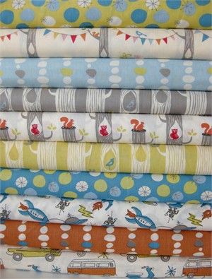 Monaluna for Birch Fabrics, Organic Cotton, Circa 52 in FAT QUARTERS 10 Total