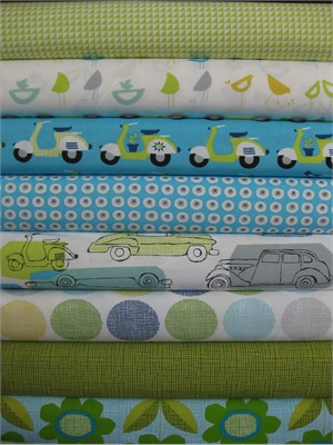 Monaluna, Havana, Organic, Blue in FAT QUARTERS, 8 Total