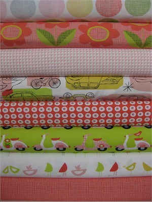 Monaluna, Havana, Organic, Red in FAT QUARTERS, 8 Total