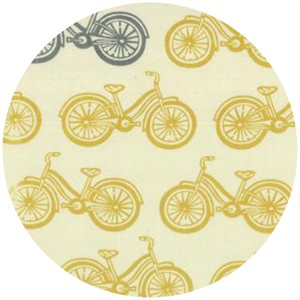 Moda, Little Things Organic, Bicycles Cream/Mustard