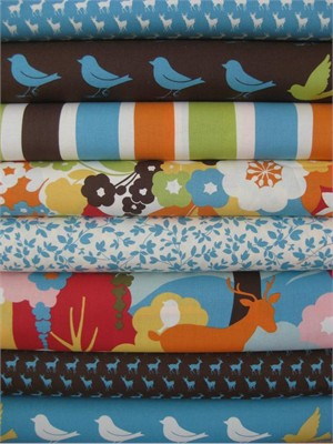 Momo, Oh Deer!, Bright Sky Bark in FAT QUARTERS, 7 Total