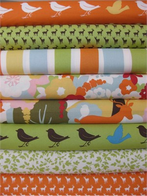 Momo, Oh Deer!, Tangerine Leaf in FAT QUARTERS, 7 Total