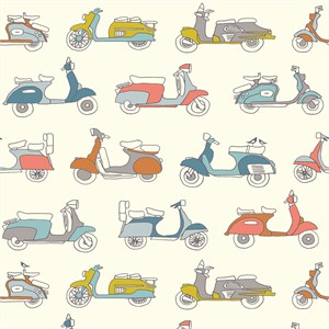 Jay-Cyn Designs for Birch Organic Fabrics, Trans-Pacific, Mopeds Multi