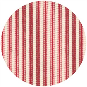 Moda, Twill, Nautical Ticking Stripes, Red