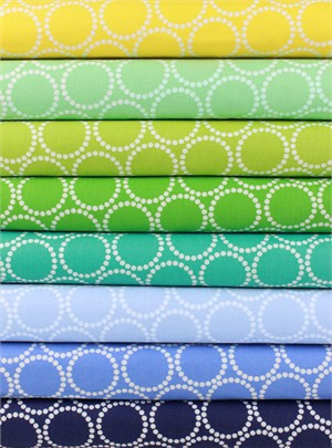 Lizzy House for Andover, Mini Pearl Bracelets, Meadow in FAT QUARTERS 8 Total