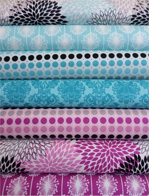 My Mind's Eye, Andrea Victoria, Aqua/Fuchsia in FAT QUARTERS 7 Total