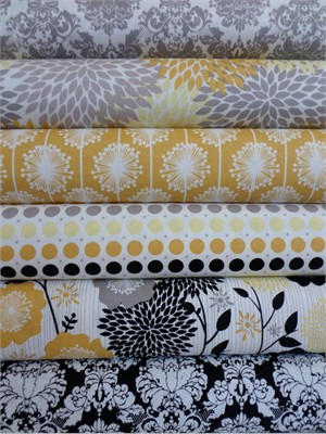 My Mind's Eye, Andrea Victoria, Gold/Gray in FAT QUARTERS 6 Total