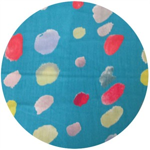 Nani Iro, DOUBLE GAUZE, Watercolor Dots Teal