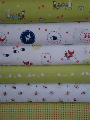 Natalie Lymer, Enchant, Green & White in FAT QUARTERS 6 Total