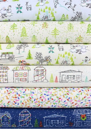 Alicia Jacobs for Ink & Arrow, Naughty or Nice in FAT QUARTERS 6 Total