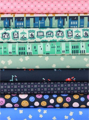 Kimberly Kight for Cotton and Steel, Penny Arcade, Navy Night in FAT QUARTERS 8 Total