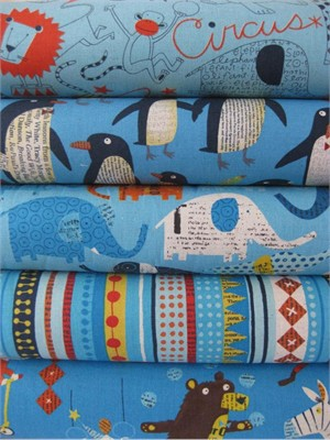 Nancy Wolff for Kokka Japan, Blue in FAT QUARTERS, 5 Total