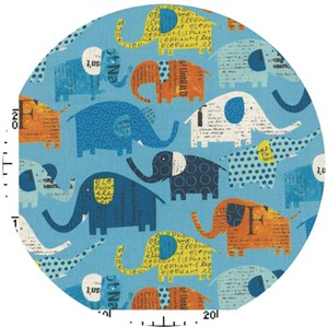 Nancy Wolff for Kokka Japan, Elephants Blue