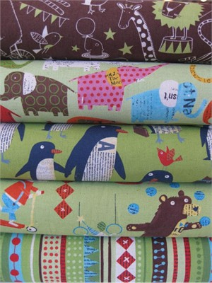 Nancy Wolff for Kokka Japan, Green in FAT QUARTERS, 5 Total