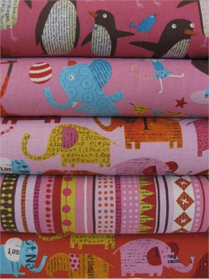 Nancy Wolff for Kokka Japan, Pink in FAT QUARTERS, 5 Total