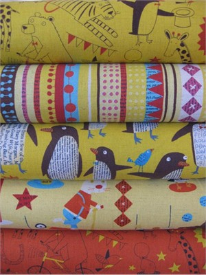 Nancy Wolff for Kokka Japan, Yellow in FAT QUARTERS, 5 Total
