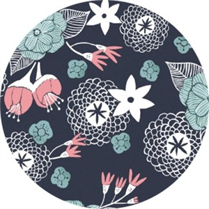 Rae Ritchie for Dear Stella, Moon Garden, Night Garden Floral Navy