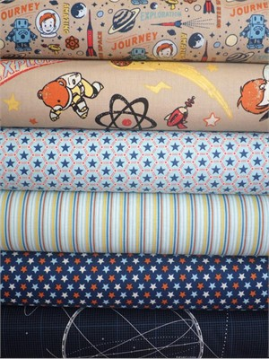 October Afternoon, Rocket Age, Blue in FAT QUARTERS 6 Total