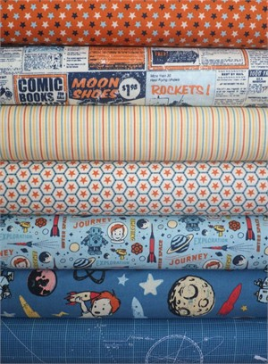 October Afternoon, Rocket Age, Orange in FAT QUARTERS 7 Total