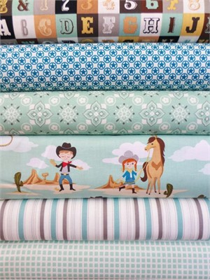 October Afternoon, Sasparilla, Teal in Fat Quarters, 6 Total