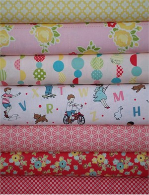 October Afternoon, Sidewalks, Pink in FAT QUARTERS 6 Total