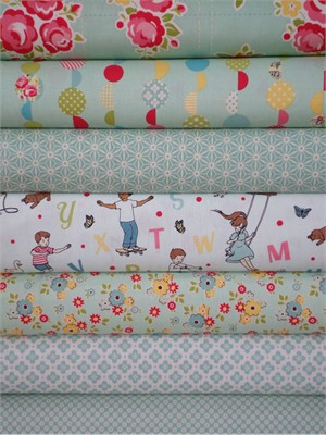 October Afternoon, Sidewalks, Teal in FAT QUARTERS 6 Total
