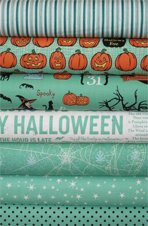 October Afternoon, Witch Hazel, Green in FAT QUARTERS 7 Total