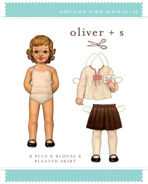 Oliver + S Sewing Pattern, 2 Plus 2 Blouse & Pleated Skirt