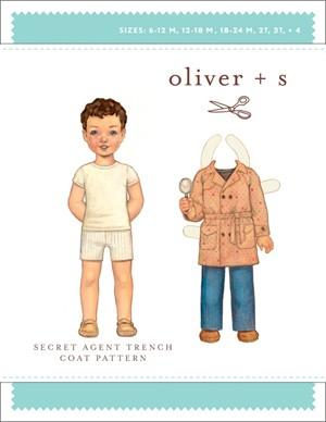 Oliver + S Sewing Pattern, Secret Agent Trench Coat (Sizes 6M-4)