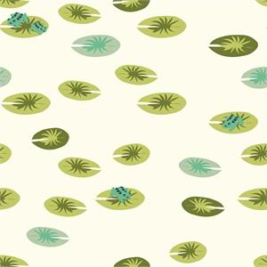 Patrick and Andrea Patton for Birch Organic Fabrics, Swan Lake, DOUBLE GAUZE, Frog Pad Cream