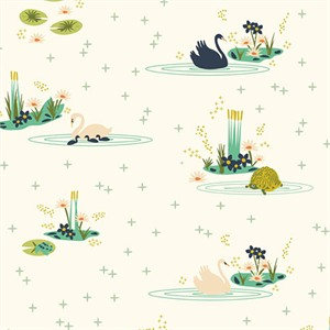 Patrick and Andrea Patton for Birch Organic Fabrics, Swan Lake, Main Cream