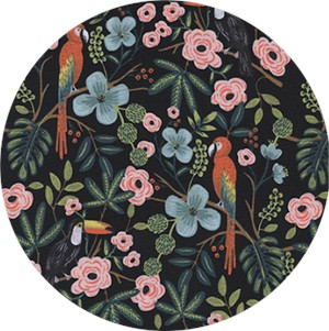 AVAILABLE FOR PREORDER, Rifle Paper Co. for Cotton and Steel, Menagerie, Paradise Garden Midnight
