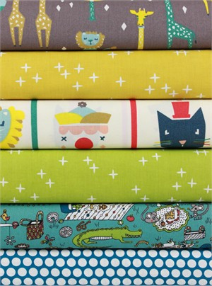 Fabricworm Custom Bundle, ORGANIC, Party Time in FAT QUARTERS 6 Total