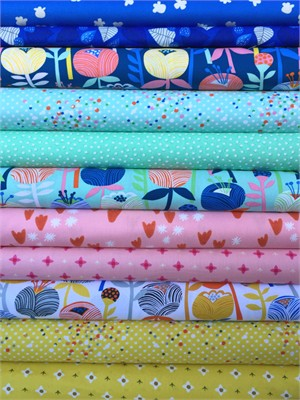 Fabricworm Custom Bundle, Pastel Petals in FAT QUARTERS 11 Total (PRE-CUT)