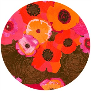 P&B Textiles, Always Blooming, Anemones Brown