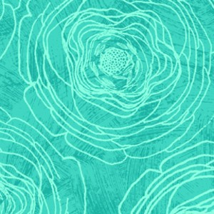 P&B Textiles, Always Blooming, Etched Roses Blue