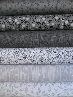 P&B Textiles, Modern Shadows, Grey in FAT QUARTERS 5 Total