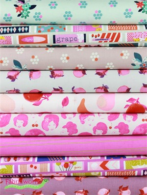Melody Miller for Cotton and Steel, Fruit Dots, Peachy Pink in FAT QUARTERS 9 Total
