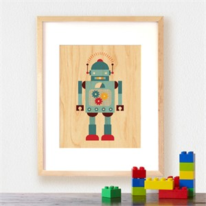 Petit Collage Prints on Wood Blue Robot 11 x 14