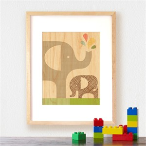 Petit Collage Prints on Wood Elephant Baby 11 x 14